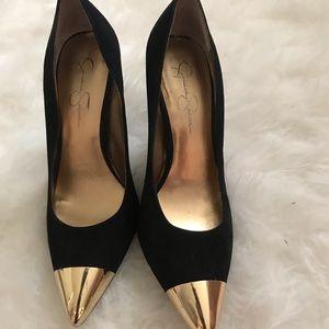 Jessica Simpson Black Heel Gold Plated Toe